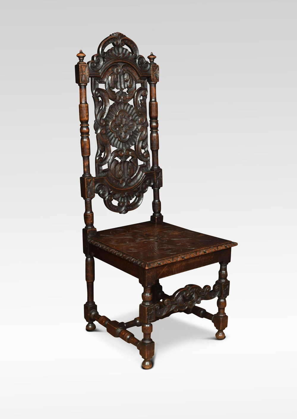Jacobean Revival Carved Oak Side Chairs Antique Side Chairs ...