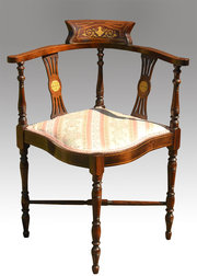 Delicieux ... ChairFernyhough Antiques · Mahogany Inlaid Corner Arm Cha