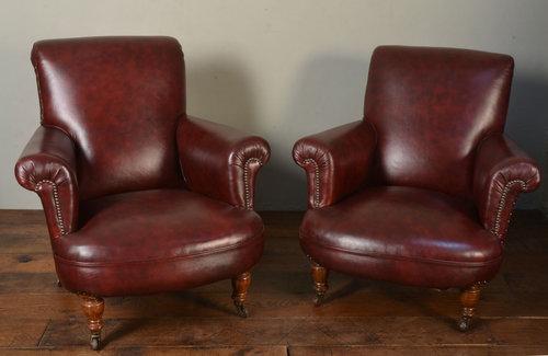 Amazing Pair Of Dark Red Leather Arm Chairs Antiques Atlas Creativecarmelina Interior Chair Design Creativecarmelinacom