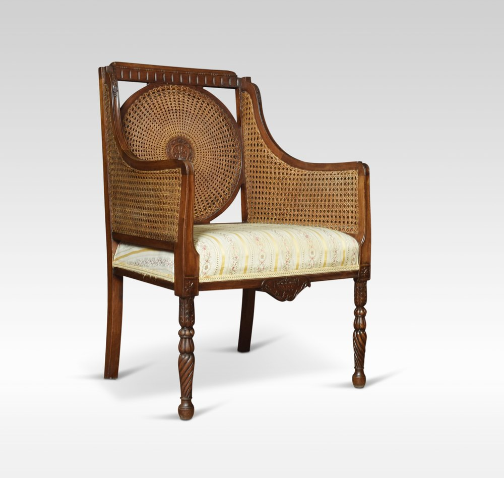Pair Of Double Caned Bergere Armchairs - Antiques Atlas