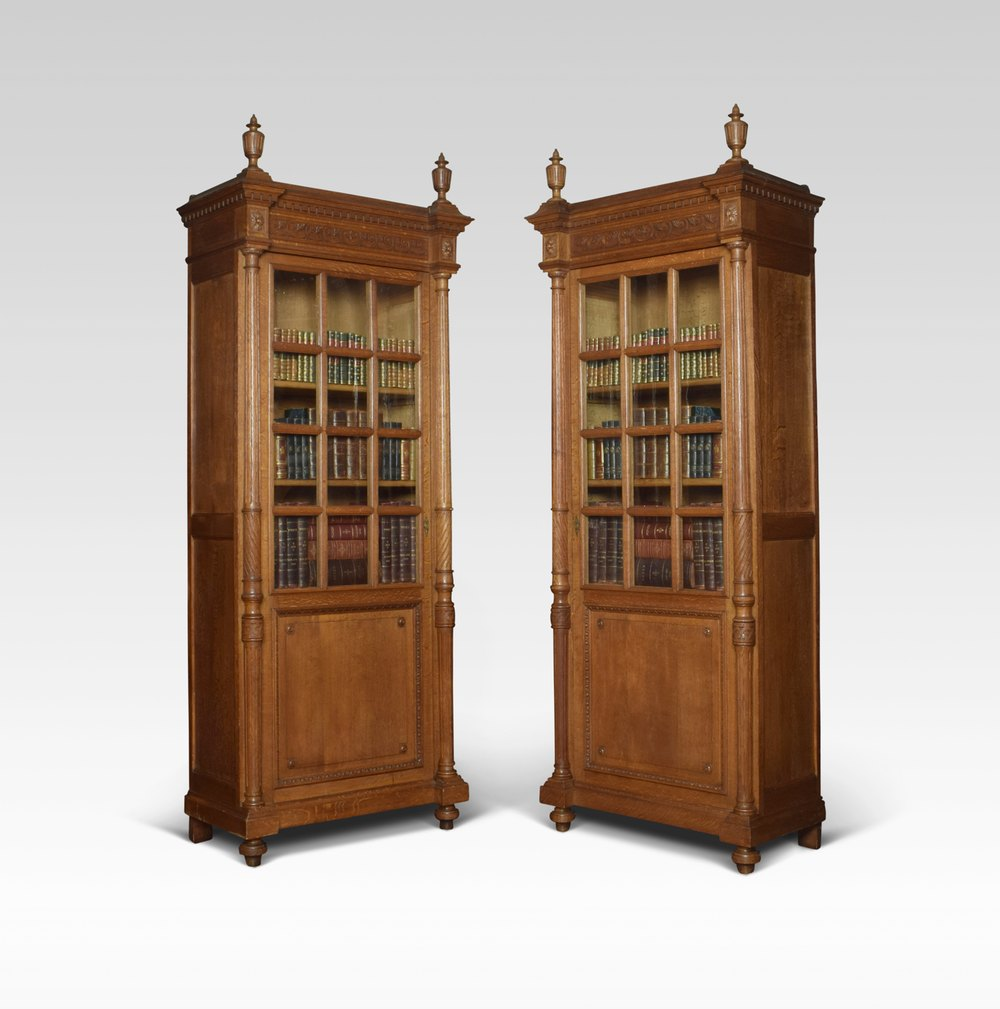 Pair Of Tall Oak Bookcases Antiques