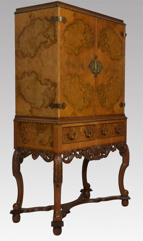 Queen Ann Style Burr Walnut Cocktail Cabinet - Antiques Atlas
