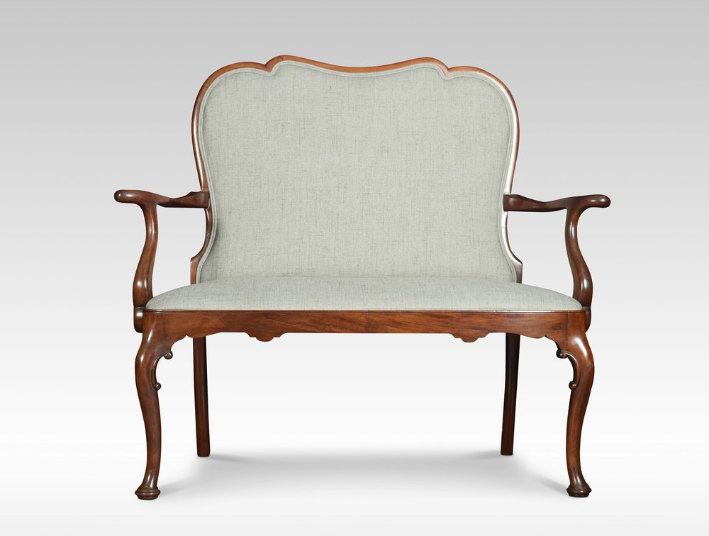 Queen anne style mahogany two seater settee antiques atlas for Settees and sofas