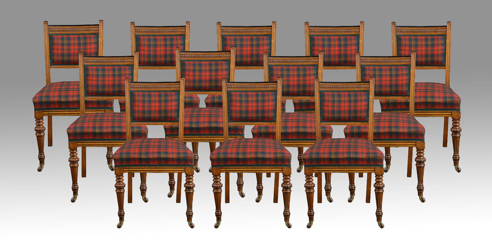 Set Of Fourteen Oak Dining Chairs Chair Sets Of 14 Antique Dining Chairs ...