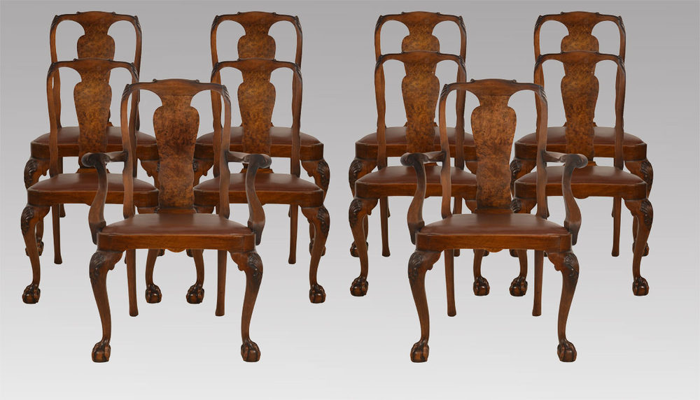 Set of ten walnut George II style dining chairs ... - Set Of Ten Walnut George II Style Dining Chairs - Antiques Atlas