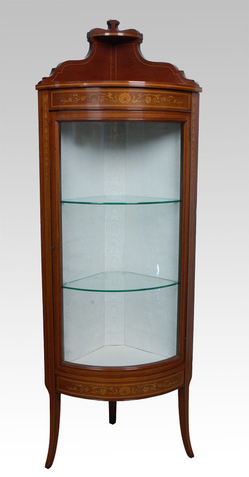 Victorian Mahogany Bowed Corner Display Cabinet Antique Corner Cabinets - Victorian Mahogany Bowed Corner Display Cabinet - Antiques Atlas