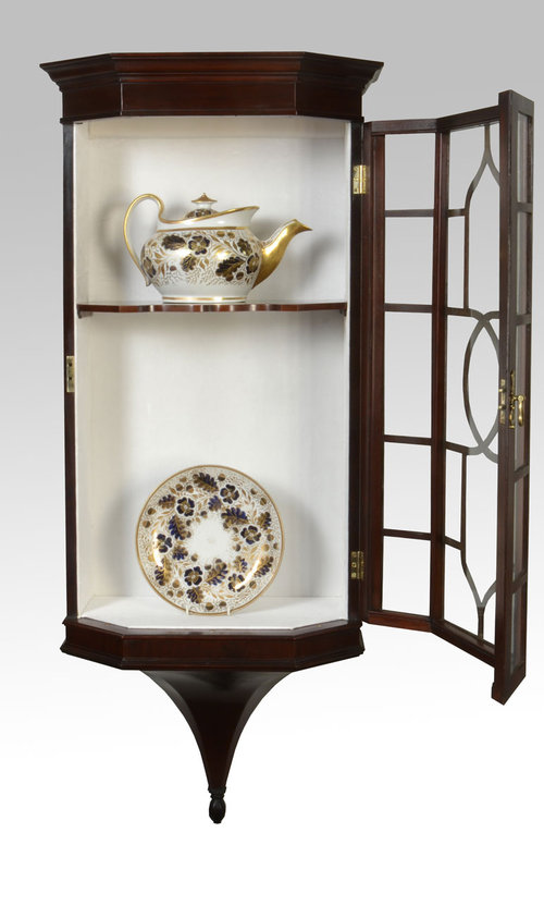 Victorian Mahogany Wall Hanging Display Cabinet Antique Cabinets