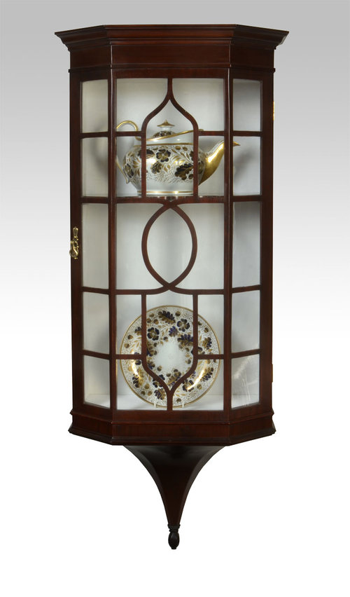 Victorian Mahogany Wall Hanging Display Cabinet