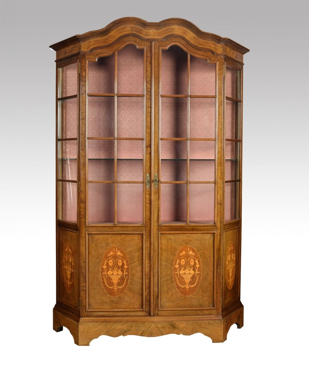 Walnut Inlaid Display Cabinet Antique Cabinets