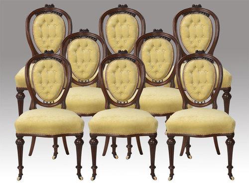Captivating Eight Mahogany Balloon Back Dining Chairs