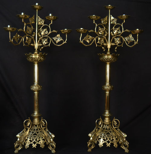 Antiques Atlas Large Pair Of Victorian Brass Candelabras