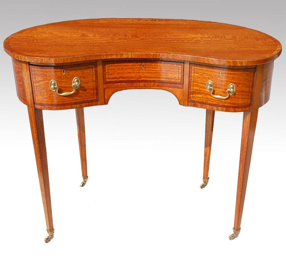 Satinwood Kidney Shaped Desk Dressing Table Antique