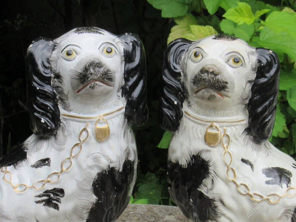 Antiques Atlas - Pair Of Black & White Staffordshire Dogs C1860