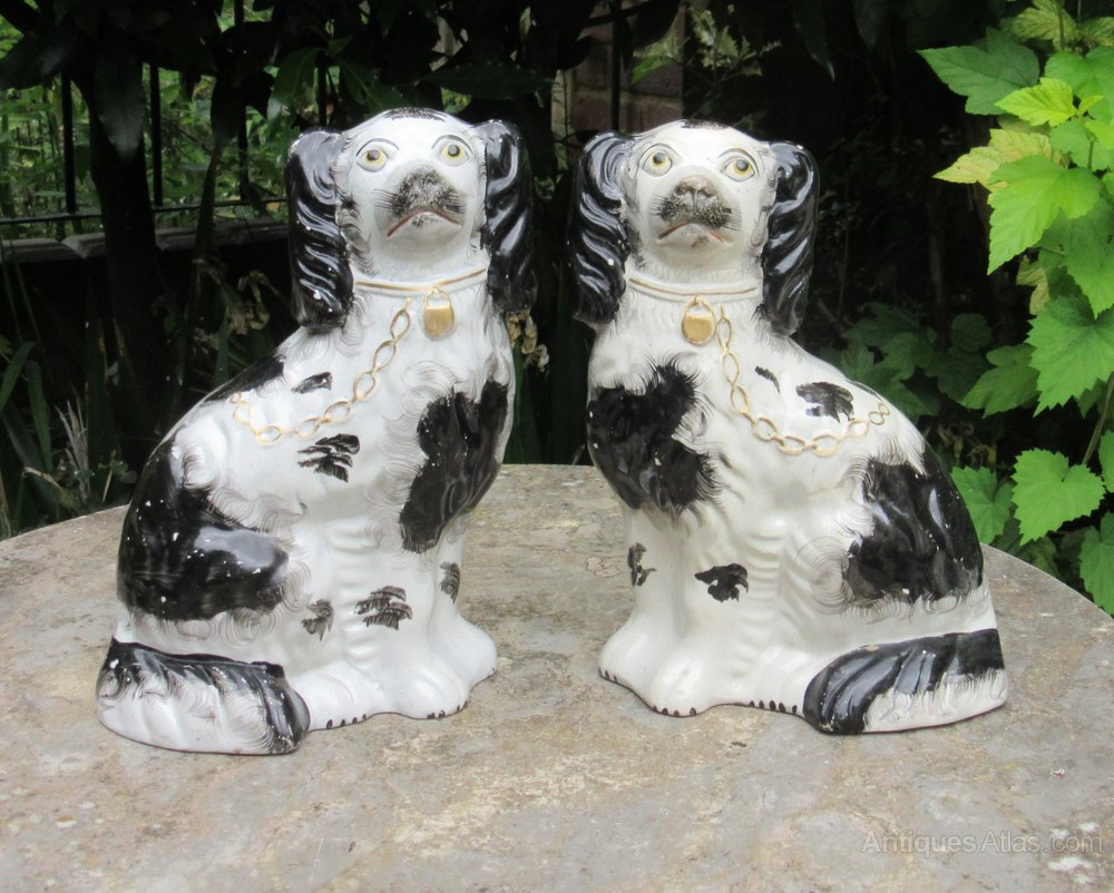 Antiques Atlas Pair Of Black Amp White Staffordshire Dogs