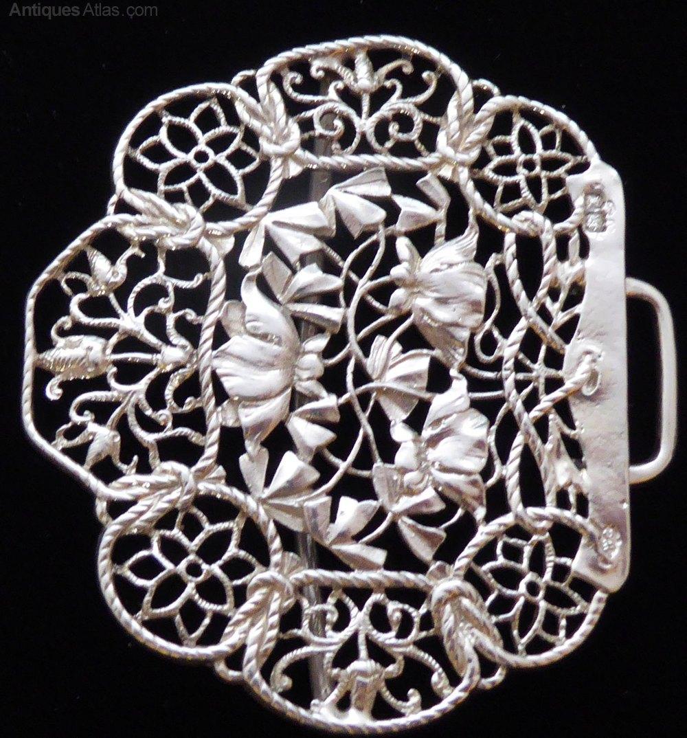 9c15dcbe7 1904 Art Nouveau Hallmarked Solid Silver Nurses Belt buckl Antique Silver  Buckles ...