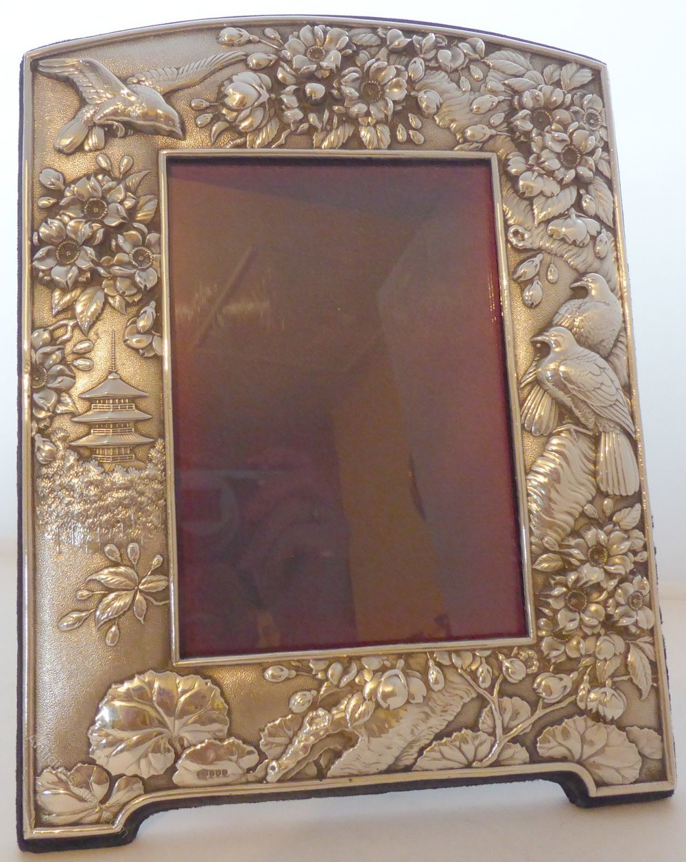 antiques atlas solid silver picture frame chinese flowers. Black Bedroom Furniture Sets. Home Design Ideas