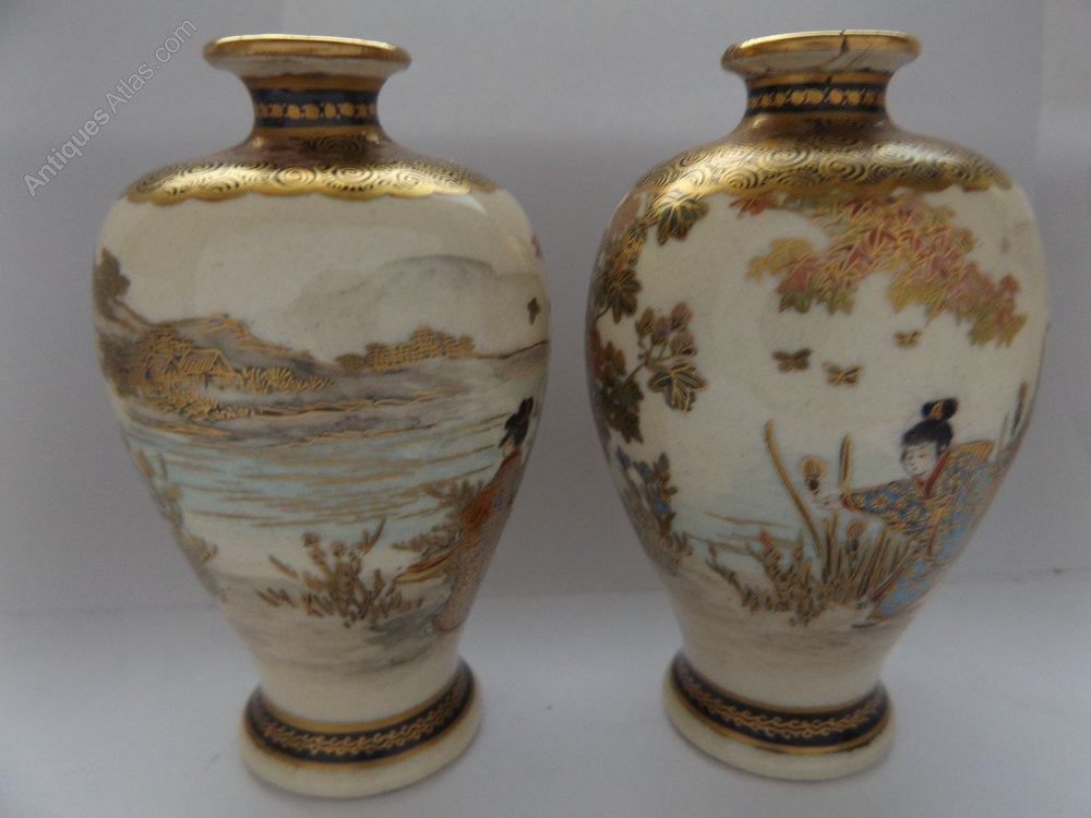 Antiques Atlas Lovely Pair Of Japanese Satsuma Miniature Vases