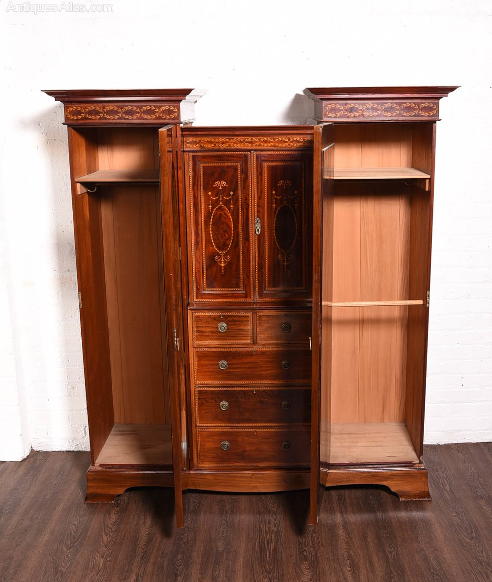edwardian inlaid mahogany princess wardrobe antiques atlas. Black Bedroom Furniture Sets. Home Design Ideas