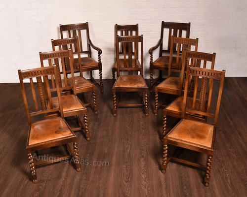 Quality set of 10 barley twist dining room chairs for Quality dining room furniture