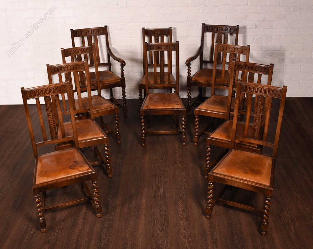 Quality set of 10 barley twist dining room chairs for Antique dining room sets