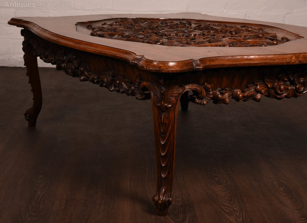 Antiques atlas large hard wood carved coffee table