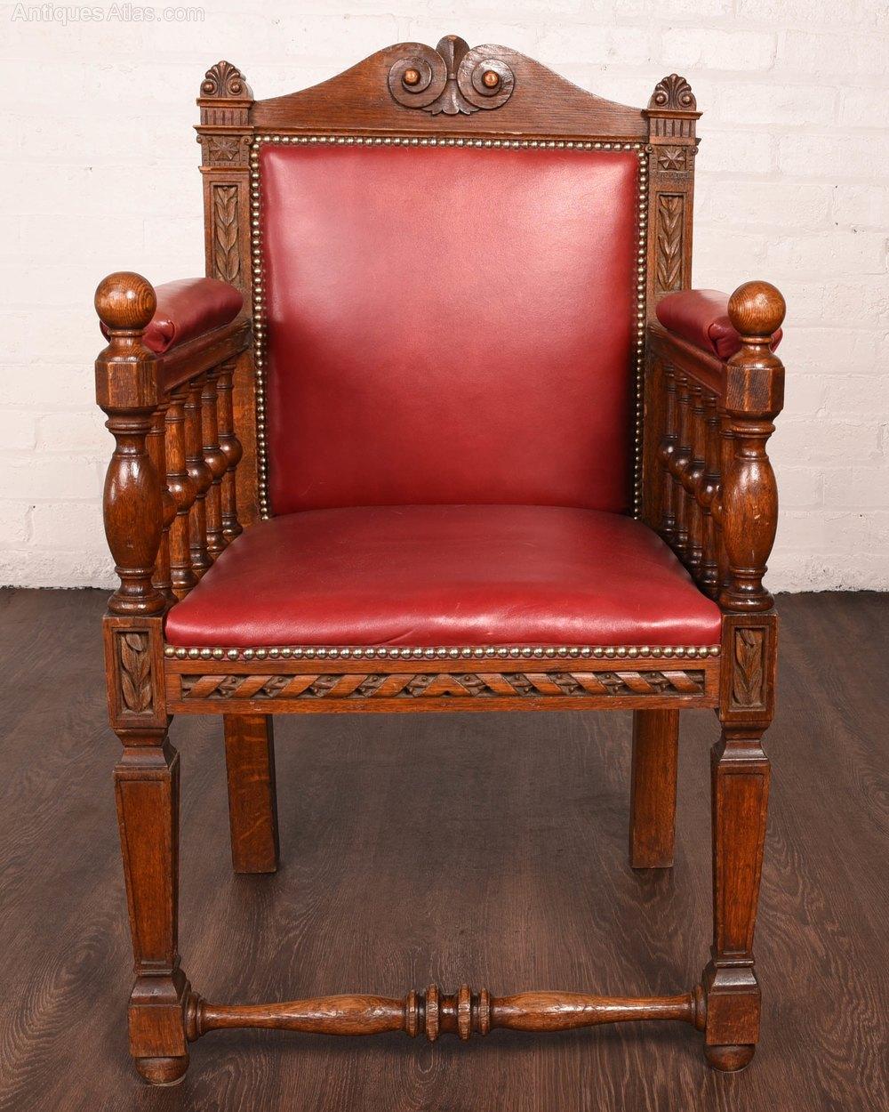 Oak Carved Desk Arm Chair Antiques Atlas
