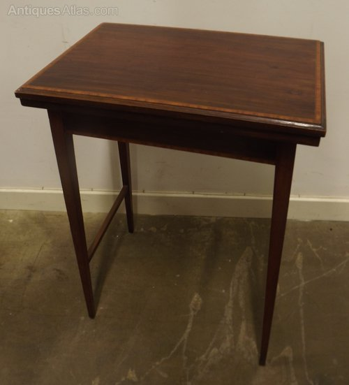 edwardian inlaid mahogany small fold over table antiques atlas