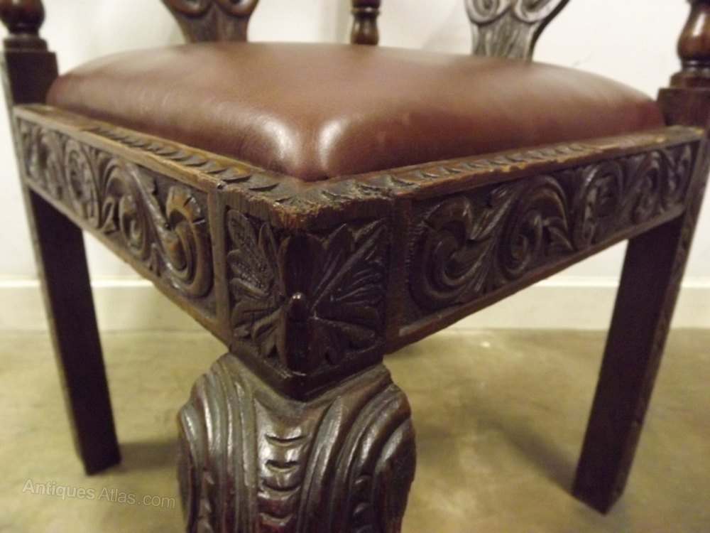 Elaborate Carved Oak Corner Chair Antiques Atlas - Vintage Corner Chair - Corner Designs
