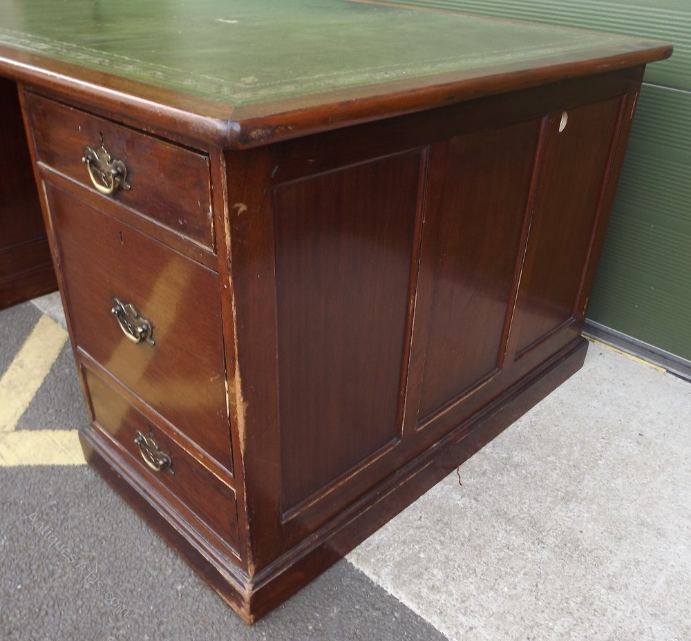 Double Sided Twin Pedestal Partners Desk Antiques