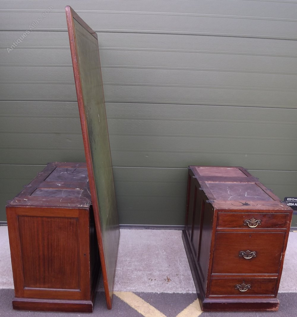 Large Double Sided Twin Pedestal Partners Desk Antiques