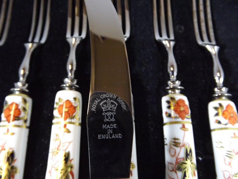 ... cutlery set Royal Crown Derby ... & Antiques Atlas - Royal Crown Derby Asian Rose Dessert Cutlery Set