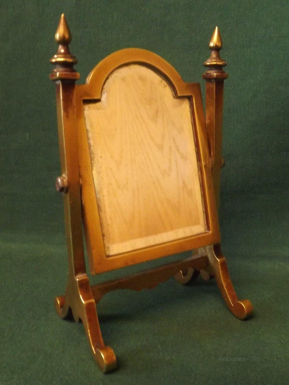 Victorian Miniature Brass Framed Cheval Mirror