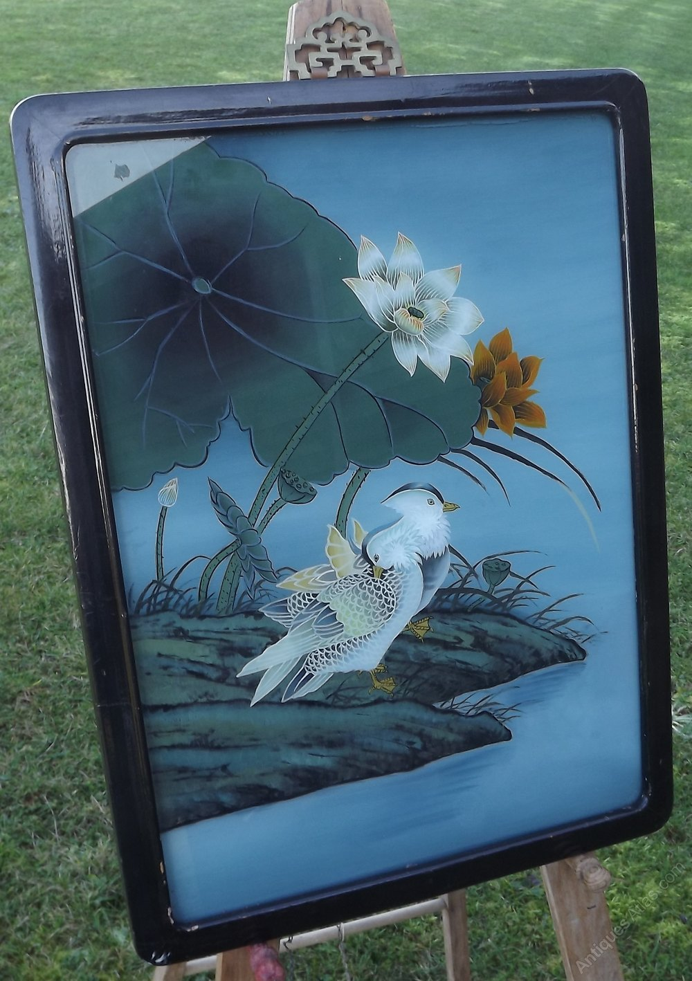 Antiques Atlas Vintage Oriental Reverse Painted On Glass
