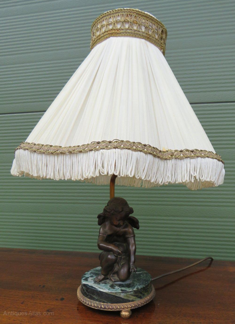 Picture of: Antiques Atlas Vintage Table Lamp With Cast Bronze Cherub