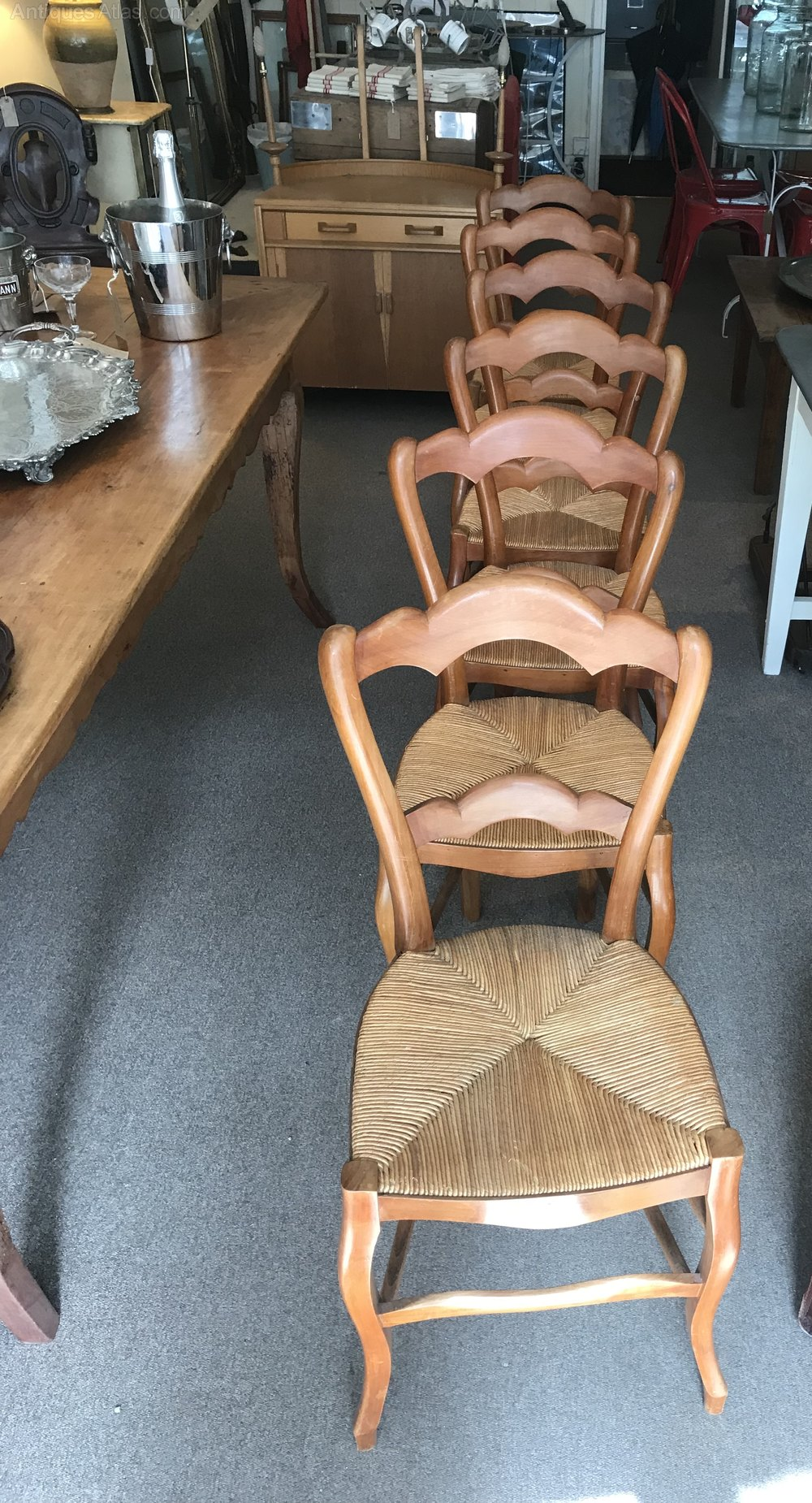 Six French Fruitwood Rush Seat Chairs Chair Sets Of 6 Antique Dining Chairs  ...