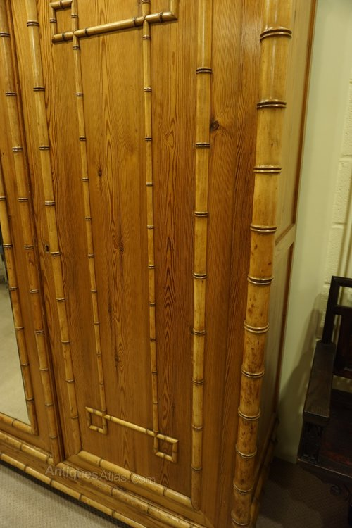 French faux bamboo triple wardrobe c1900 antiques atlas for Triple french doors for sale