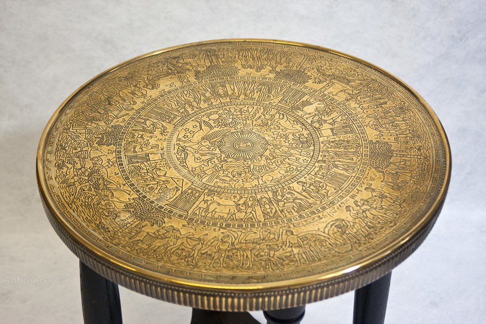 Round Brass Top Coffee Table Antique Occasional Tables