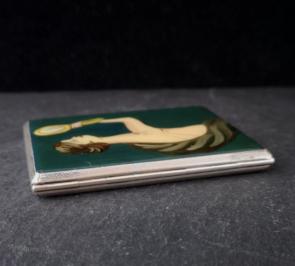 Antiques Atlas - Pink Guilloche Enamel & Silver Cigarette Case