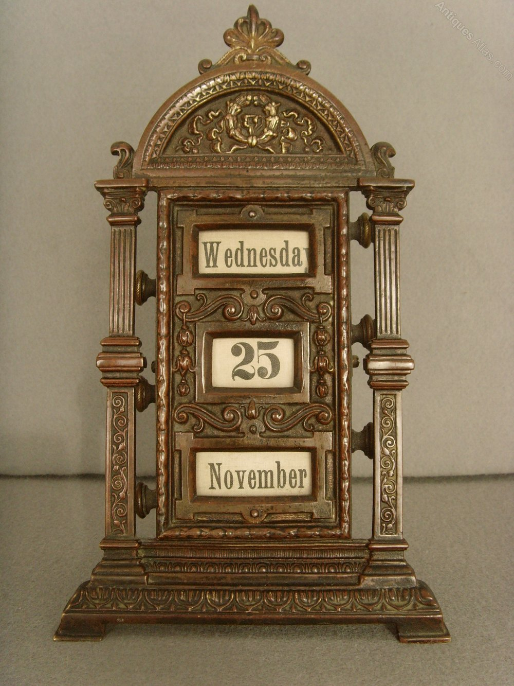 19th C. Patinated Brass Perpetual Desk Calendar Antique ... - Antiques Atlas - 19th C. Patinated Brass Perpetual Desk Calendar