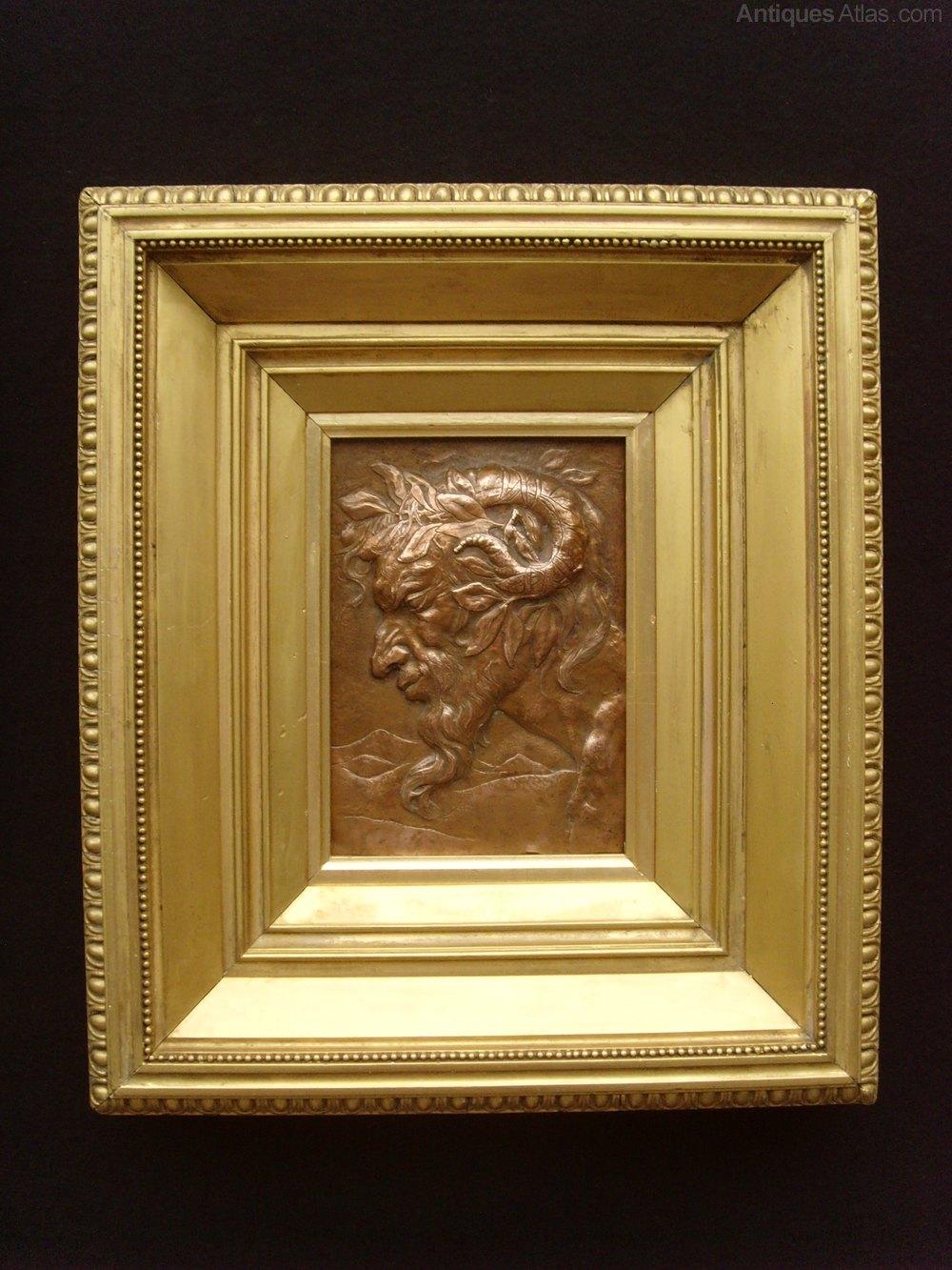 Antiques Atlas - Art Nouveau Relief Copper Plaque Greek God Pan
