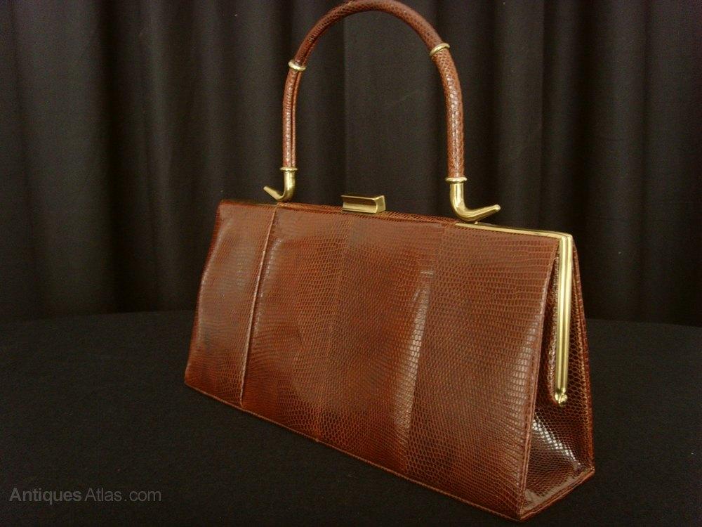 Chestnut Lizard Handbag Suede Interior By Widegate Vintage Handbags And Evening Bags