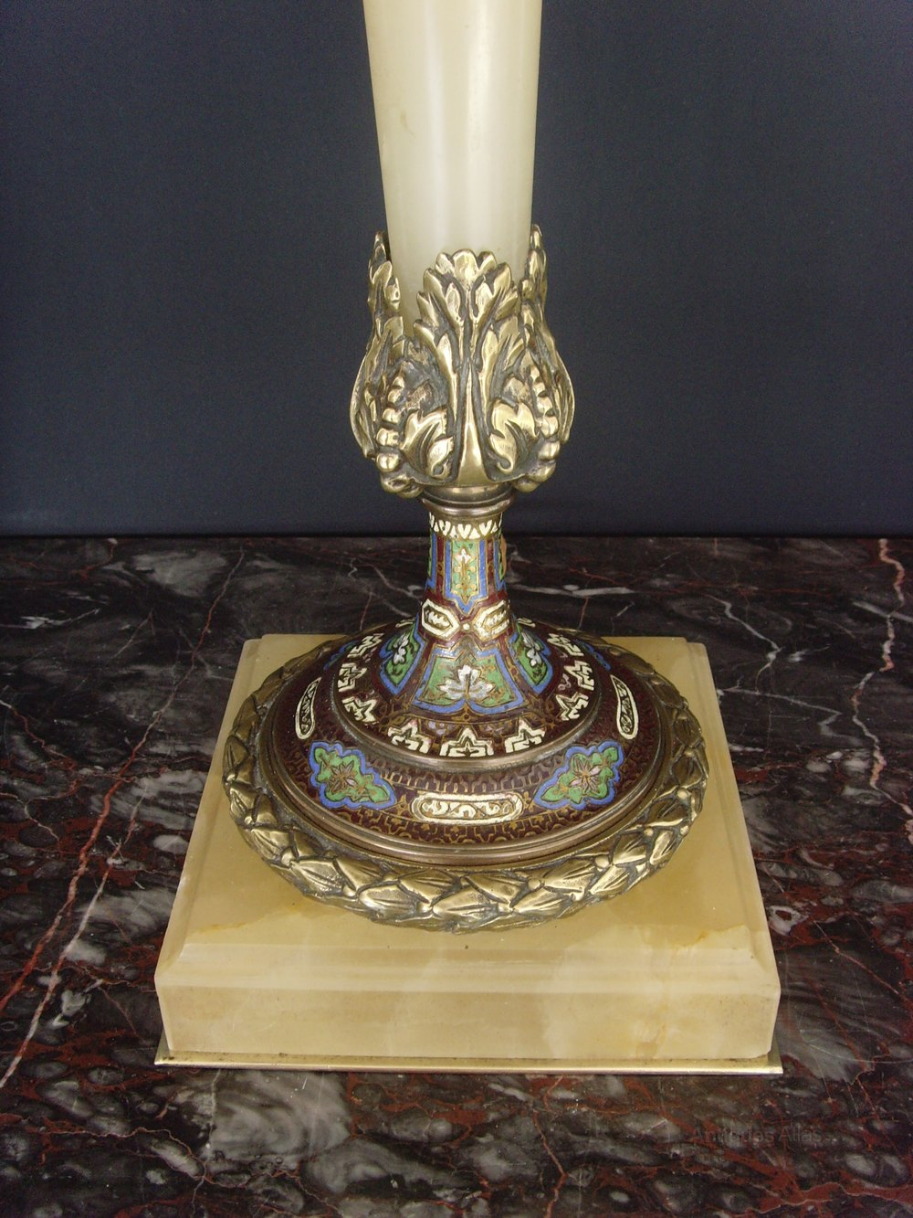 Antiques Atlas Cloisonne Amp Alabaster Table Lamp Beaded Shade