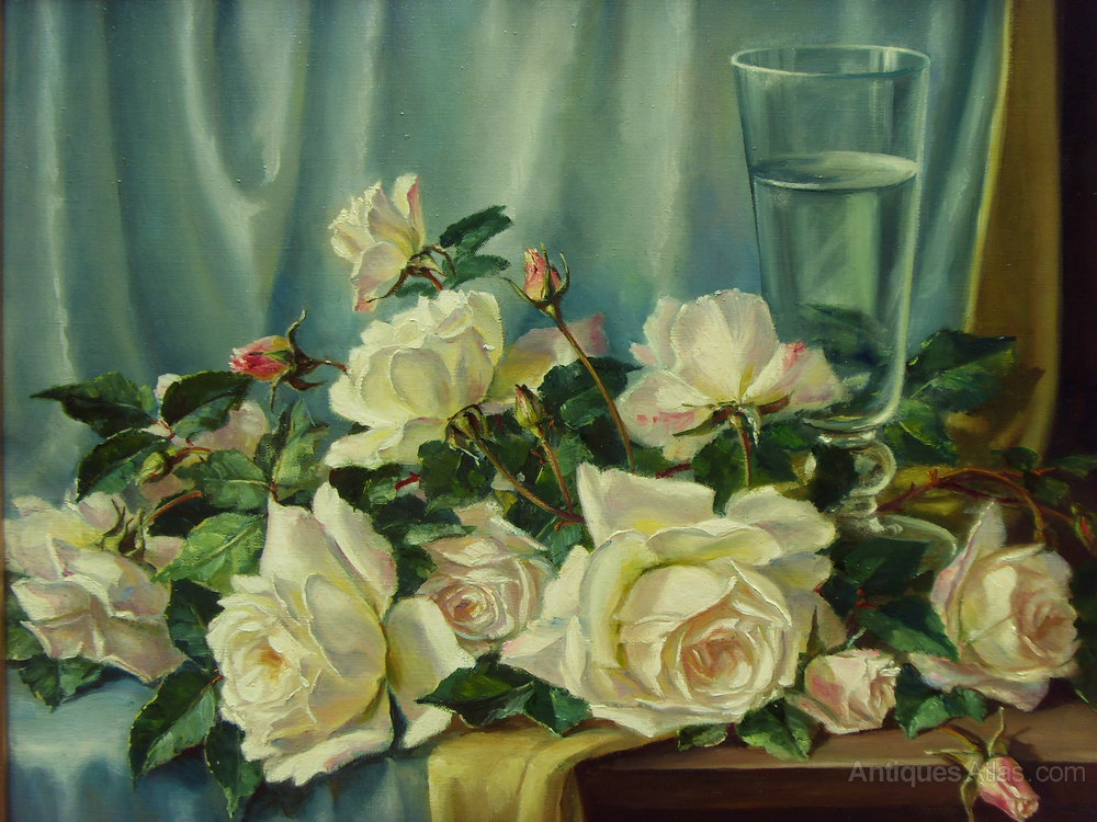 Antiques Atlas Constance Cooper 1905 1988 Oil Painting Roses