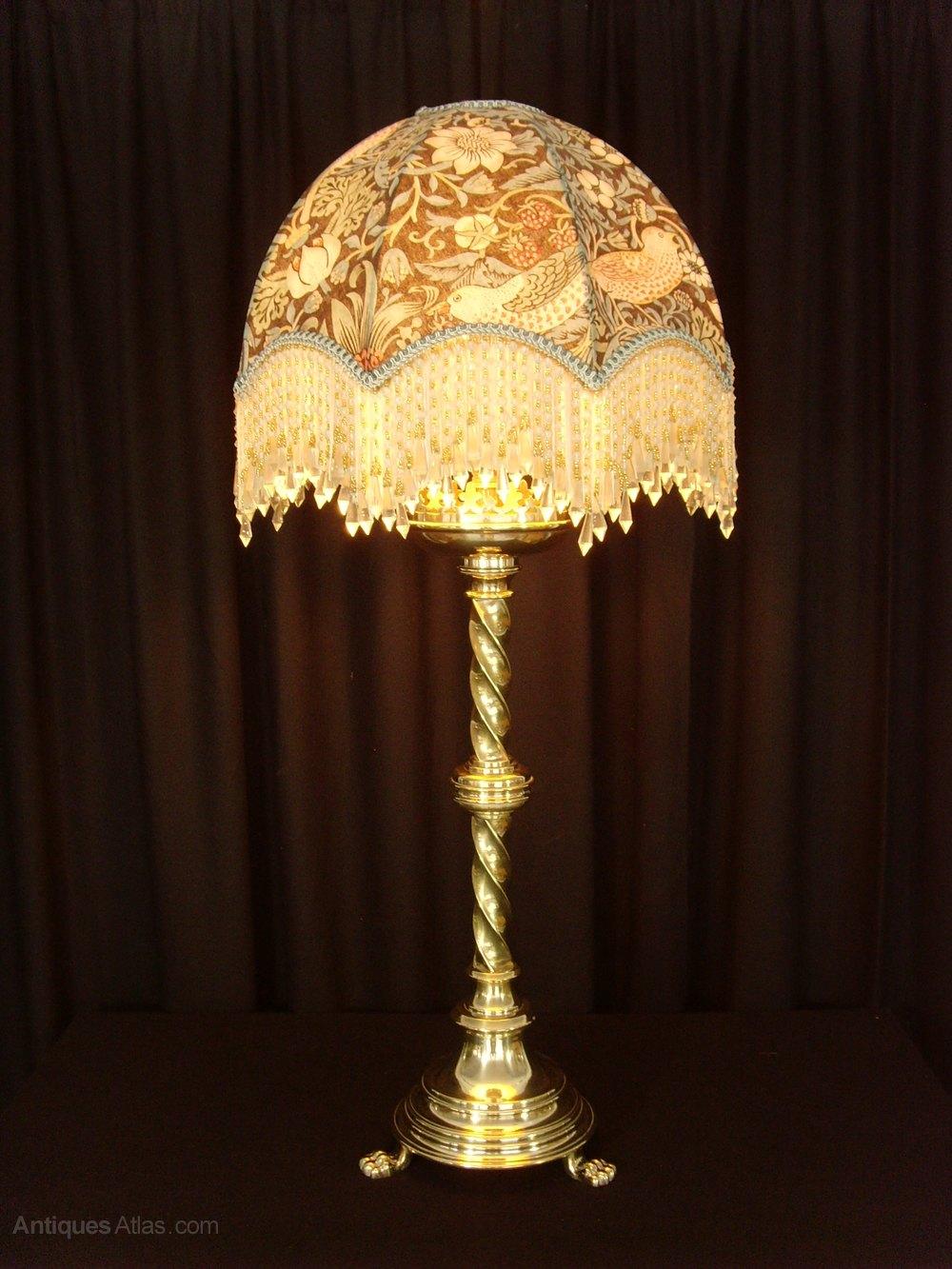 Antiques atlas gothic brass table lamp william morris shade gothic brass table lamp william morris shade antique table lights greentooth Choice Image