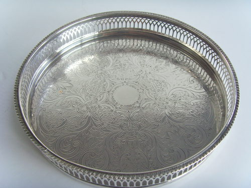 Antiques Atlas Harrods Silver Plated Galleried Drinks Tray
