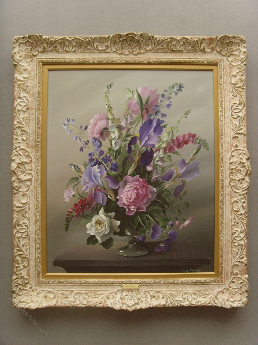Antiques Atlas Mary Brown Still Life Oil Flowers In A Vase