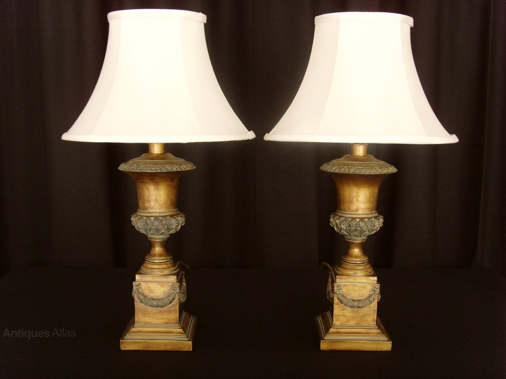 antiques atlas pair gilt campana urn table lamps silk shades. Black Bedroom Furniture Sets. Home Design Ideas