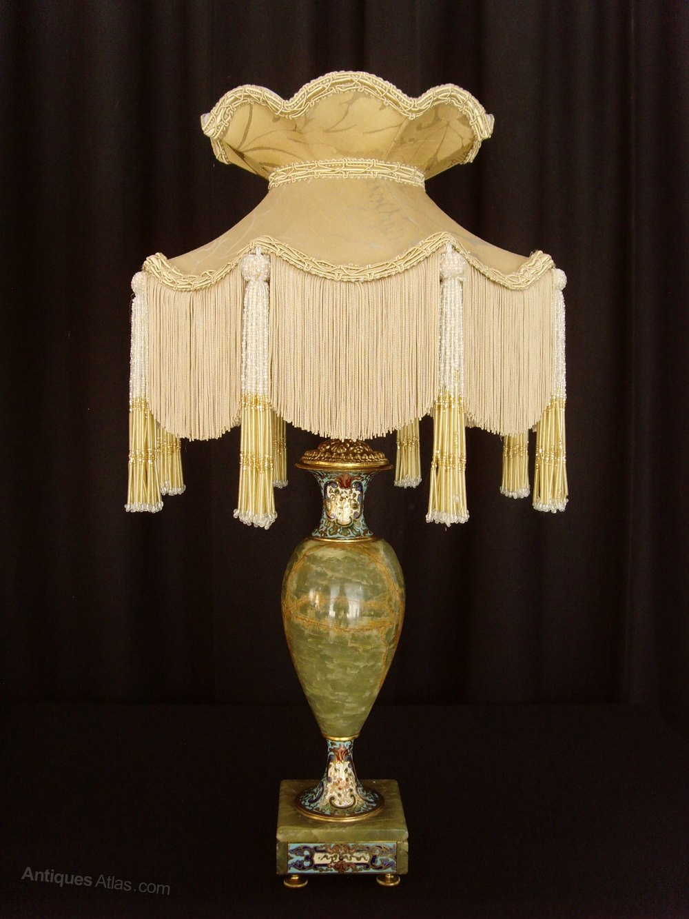 Antiques Atlas Pair Onyx Amp Champleve Enamel Table Lamps Amp Shades