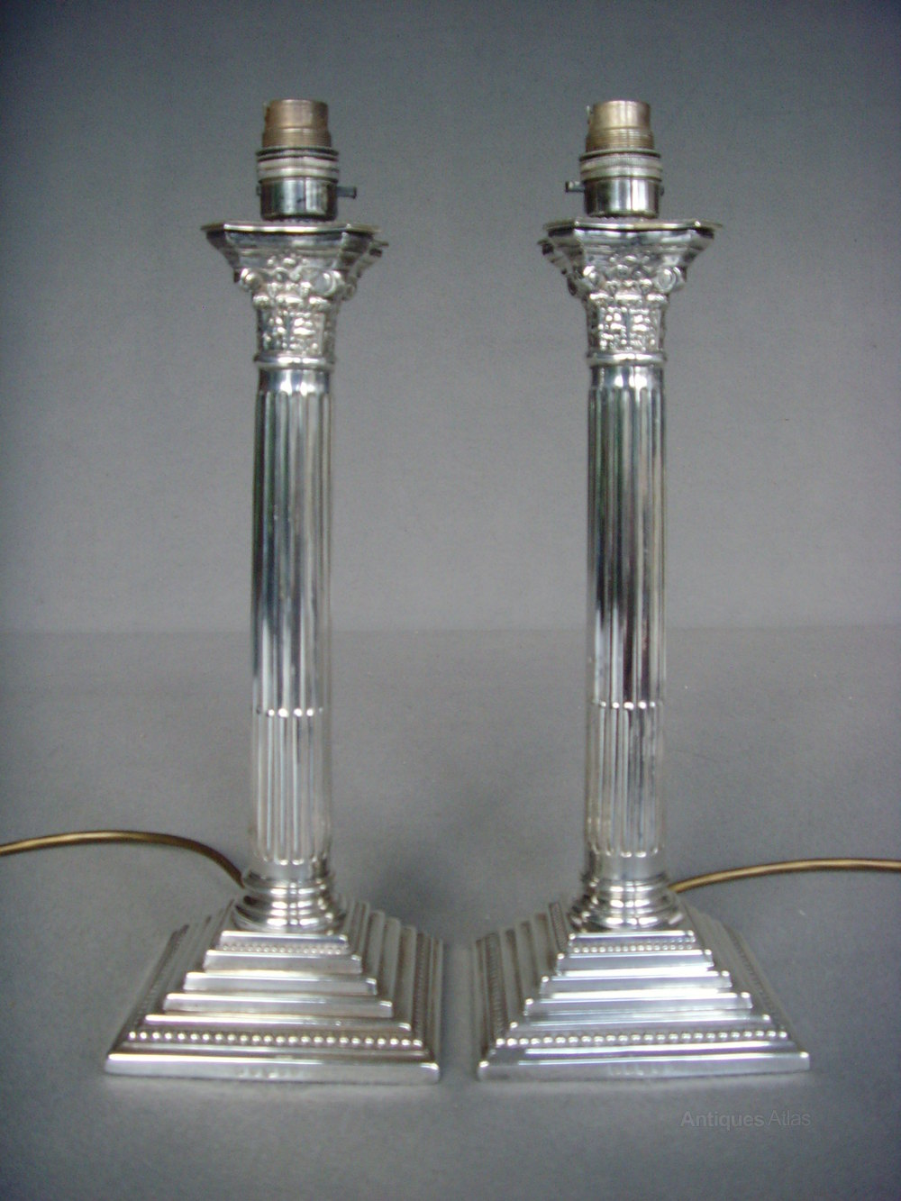 Pair Silver Plated Corinthian Column Lamp Bases ...