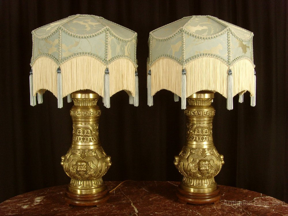 Antiques atlas pair of chinese brass table lamps shades pair of chinese brass table lamps shades mozeypictures Choice Image